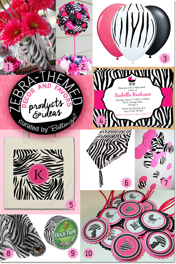 Zebra-themed Decor and Favors. See the Party Planning Guide on the Party Suite at Bellenza.