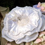 Bella Fleur Floral Satin Ring Pillow with Embroidery