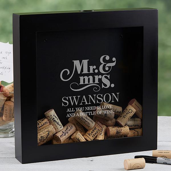 Cork Shadow Box Mr. and Mrs.