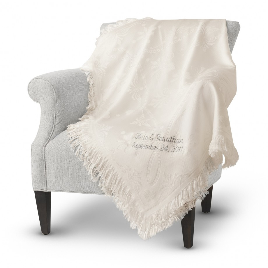 Throw blanket with personalization.