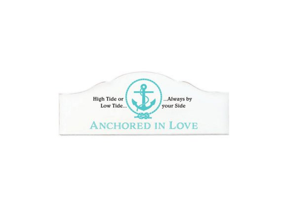 "Antique-style Sign with Message of ""Anchored in Love"""