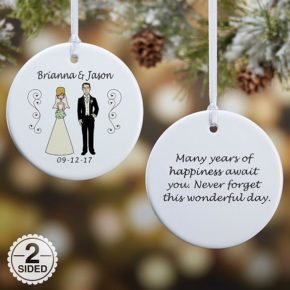 Personalized Christmas Ornament Bride + Groom