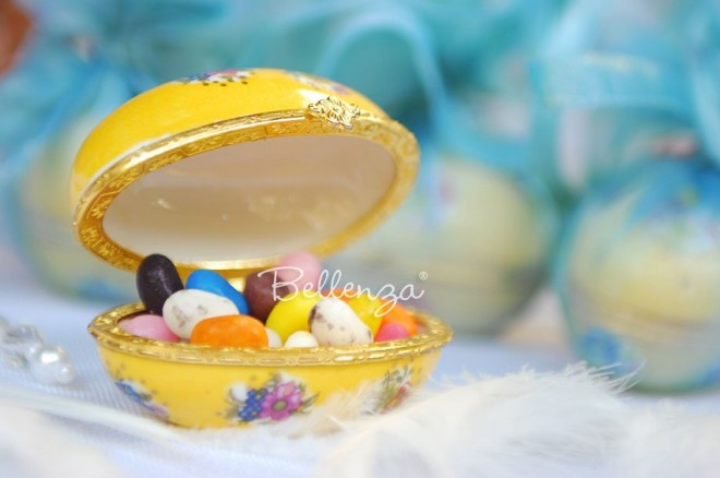 2. Whimsical porcelain keepsake egg filled with jelly beans.