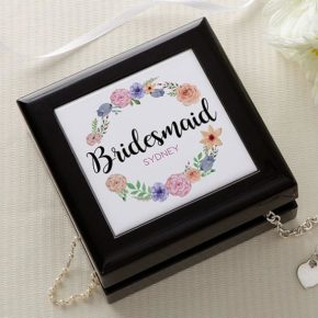 Personalized Floral Wreath Keepsake Box