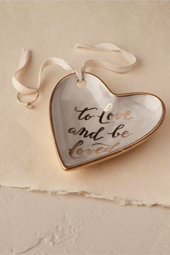 "Ring Dish with Words of ""To Love and Be Loved"" BHDLN"