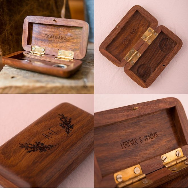 A pocket-sized ring box hand-carved with a magnet clasp to keep the rings secure.