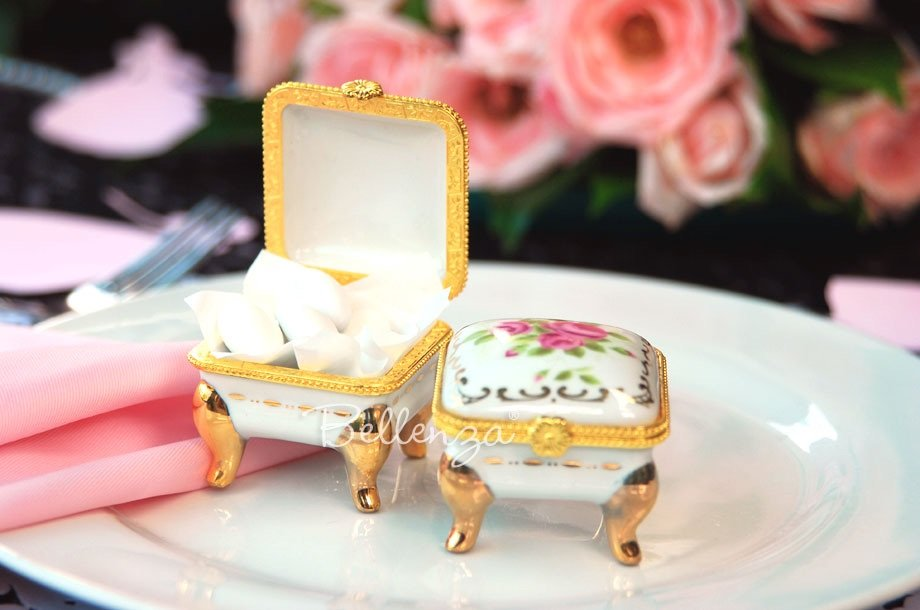 Porcelain Hinged Trinket Boxes for Jewelry
