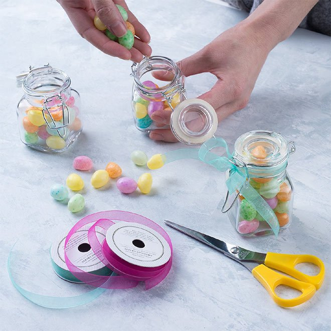 Wire top glass jars (sold in a set of 48) via Amazon