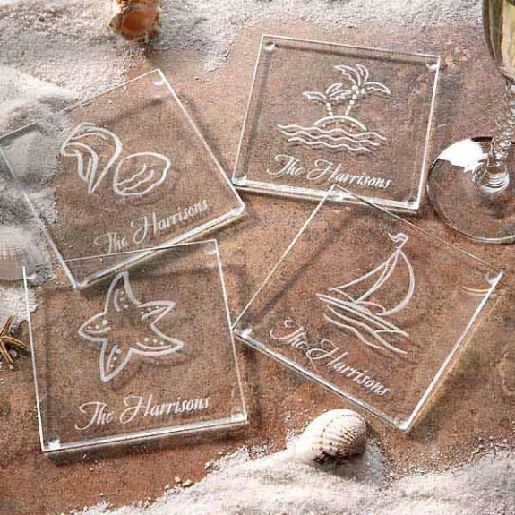 Personalized Beach Themed Glass Coasters