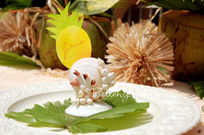 Seashell Place Card Holders with Pineapple Place Cards