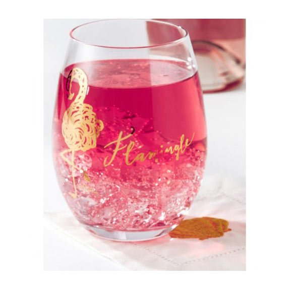Flamingle Lover's Coral Stemless Wine Glass Set