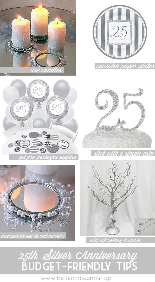 Silver winter wedding anniversary decor