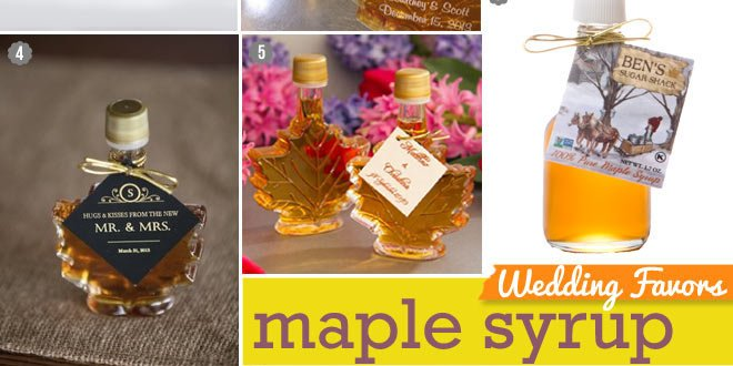 Small bottles of maple syrup as Thanksgiving table favors