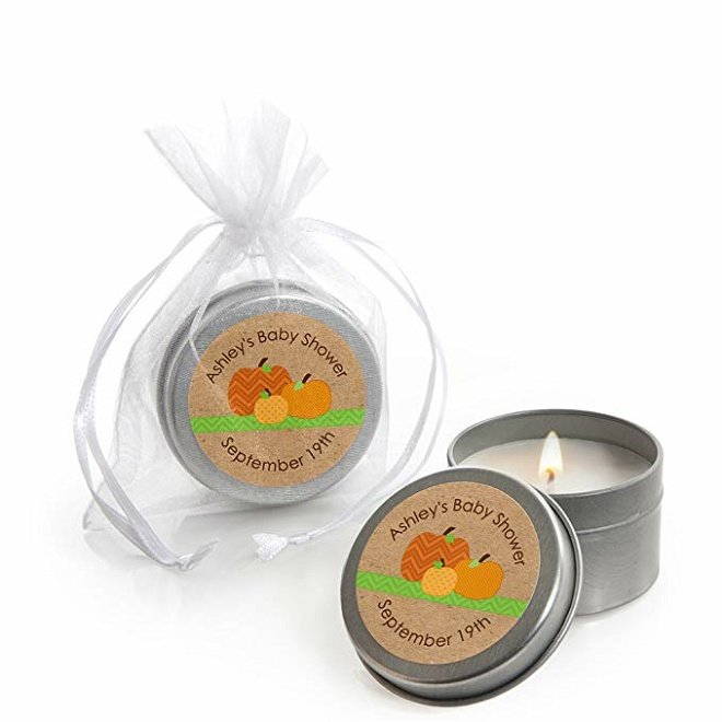 Small candle in a tin with personalized Thanksgiving labels