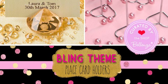 Sparkly Favor Ideas with Place Cardholders that are Gold, Glittery, and Shiny.