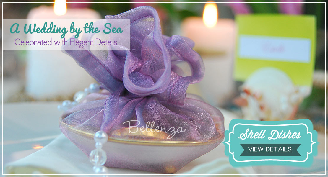 Upscale, luxurious favors for beach weddings. Shell trays in organza wrapping.