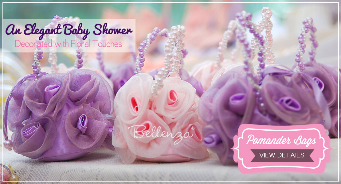 Pink and purple favor bags from Bellenza - upscale, luxurious wedding favors.