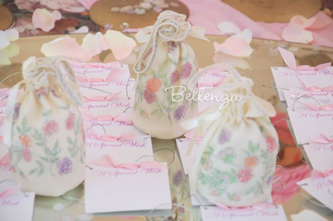 floral silk sachet for soap favors