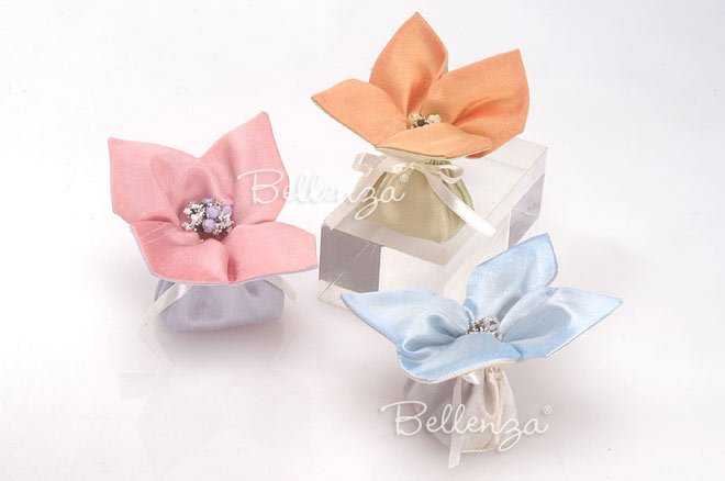soap silk favor bags in pastel