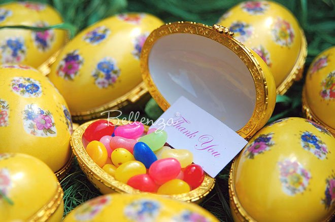 yellow porcelain eggs for easter or spring spa party