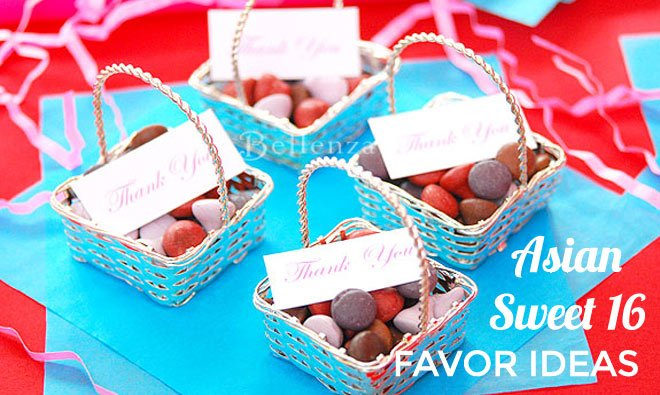 Chocolates in silver baskets for a sweet 16