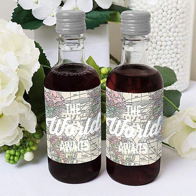 Travel themed wine bottle labels via Amazon