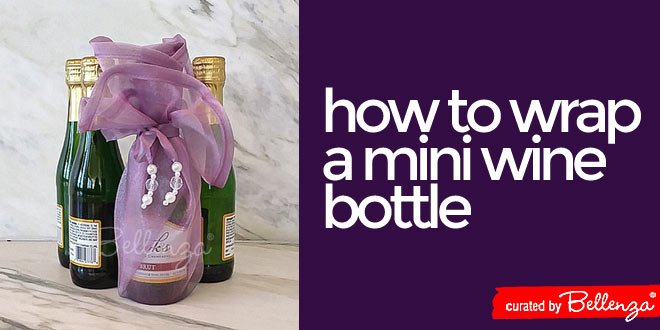 How to package and present small bottles of wine and champagne as party favors.