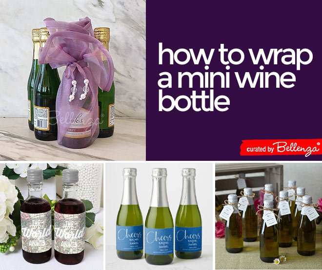 Tips for wrapping mini wine bottle as favors for weddings to graduations.