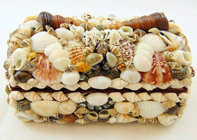 Seashell encrusted box