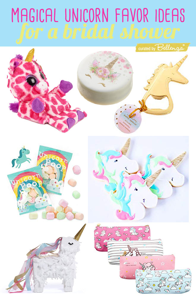 Unicorn themed favors for wedding showers