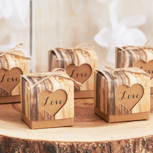 rustic birch favor boxes