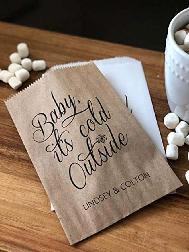 baby its cold outside favor bags