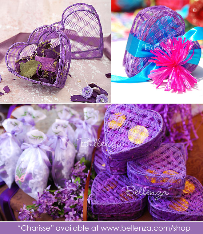 Purple or violet heart shaped gift boxes