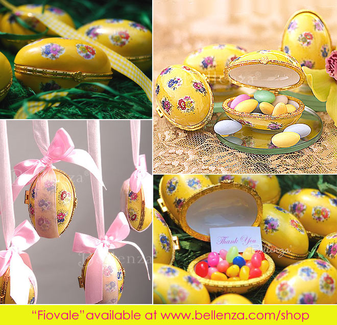 Bright yellow Easter egg keepsake favor boxes