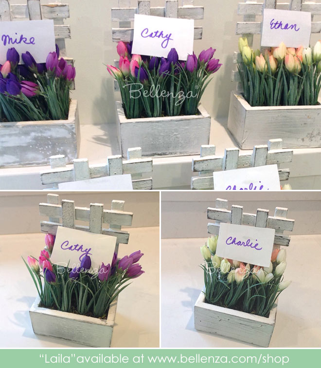 Faux picket fence flowers favors