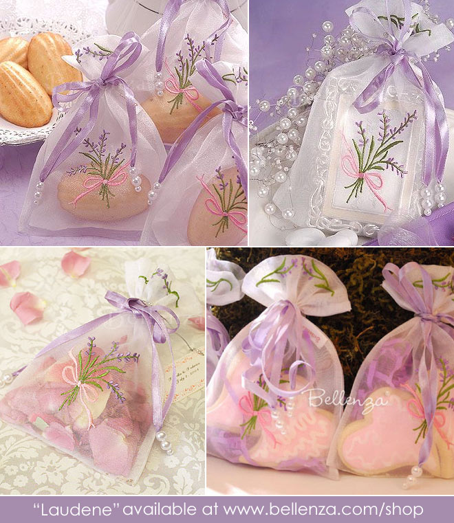 Lavender embroidered organza bags with fillings from cookies to petals