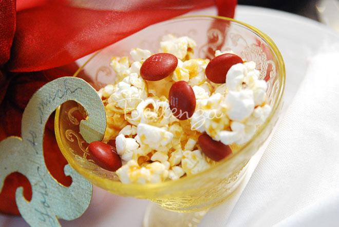 Popcorn favors in goblets