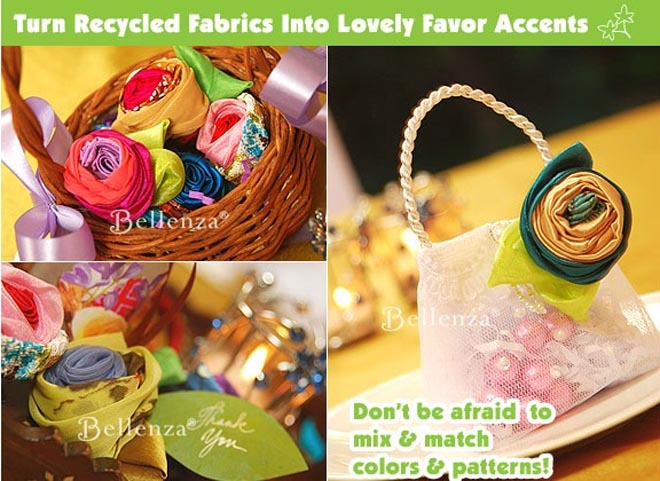 Fabric brooches as favor accents