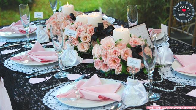 Black and Pink Vintage Tablescape