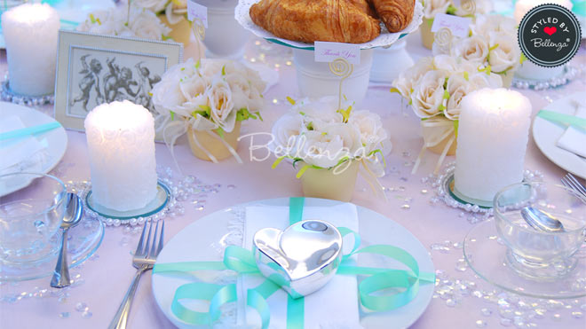 Simple White and Mint Green Tea Party Tablescape