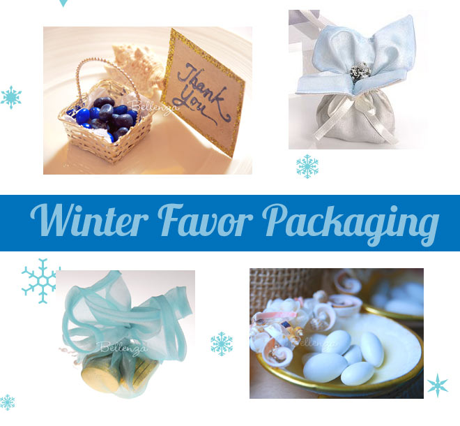 Winter favor packaging at a wedding