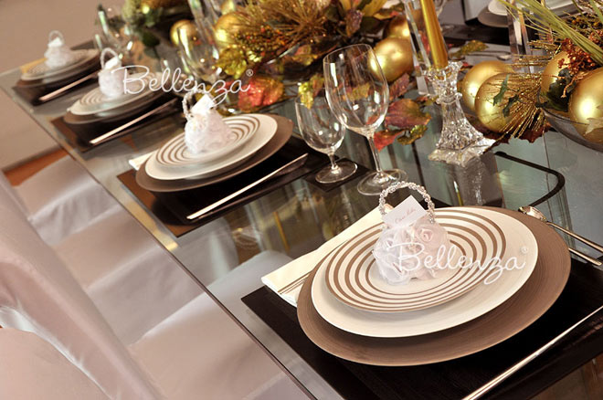 Winter tablescape with favor bags on place settings.