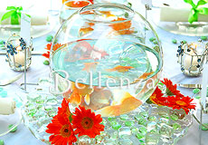 A fish bowl centerpiece
