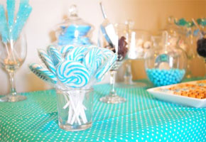 Aqua bridal shower feature