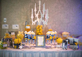 Yellow and Navy wedding candy buffet table