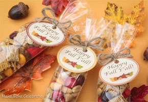 Trail mix bags with tags