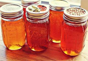 Honey in mason jars