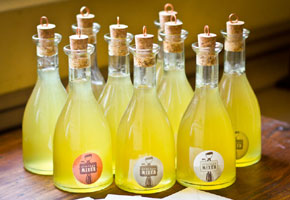 Limoncello bottles with cork