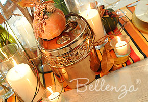 Fall table with pumpkin decorations