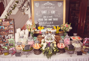 Nostalgic candy table with vintage elements
